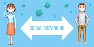 ソーシャルディスタンスで距離をとる人とコロナウイルス(マスク)のイラスト素材 [FYI04736696]