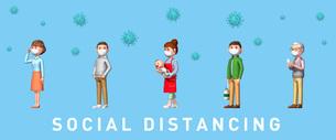 ソーシャルディスタンスで並ぶ人とウイルスのイラスト(マスク)のイラスト素材 [FYI04736697]