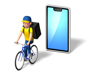 自転車デリバリー4のイラスト素材 [FYI04736709]