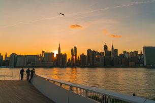 ニューヨーク市 クイーンズ ロングアイランドシティー ガントリープラザ ステイト パークの展望デッキからのミッドタウンマンハッタン摩天楼に沈む夕日。の写真素材 [FYI04736812]