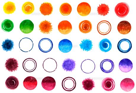 水彩で描いた水玉や円の素材イラスト【セット】のイラスト素材 [FYI04736890]