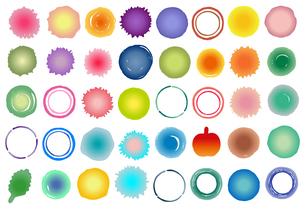 水彩風に描いた水玉や円の素材イラスト【セット】のイラスト素材 [FYI04736891]
