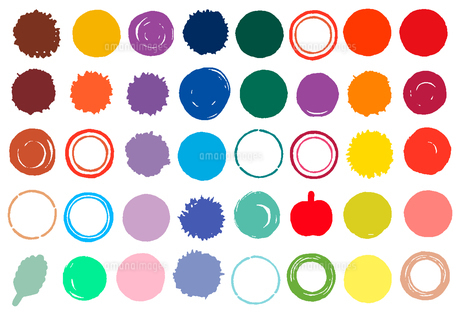 水彩風に描いた水玉や円の素材イラスト【セット】のイラスト素材 [FYI04736892]