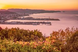 【香川県 高松市】屋島山頂から見る高松市街の様子 夕方の写真素材 [FYI04736914]