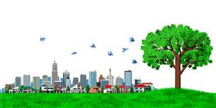 街並み 街 エコロジー 樹木 カラーのイラスト素材 [FYI04736994]