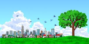 街並み 街 エコロジー 樹木 入道雲のイラスト素材 [FYI04736996]