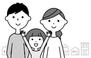仲良しファミリー 二世代家族と街並みのイラスト素材 [FYI04737017]
