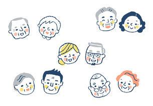 笑顔のシニアカップル 5組のイラスト素材 [FYI04737060]