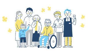 家族と介護スタッフのイラスト素材 [FYI04737076]