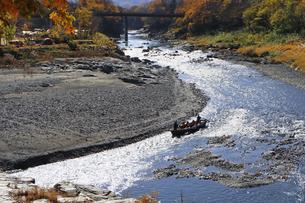 長瀞舟下り 荒川の渓谷を和舟で舟下りの写真素材 [FYI04737217]