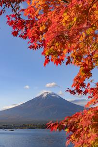 紅葉の美しい河口湖と富士山の写真素材 [FYI04737626]