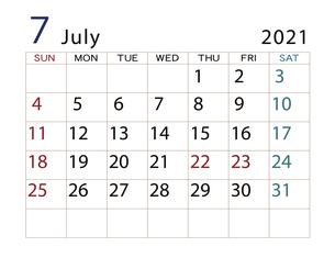 2021年カレンダー7月 その2のイラスト素材 [FYI04737724]