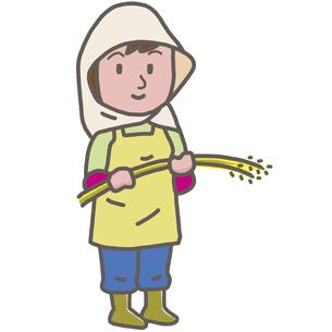 稲を持つ農家の女性のイラスト素材 [FYI04738117]