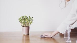 ダイニングテーブルと掃除する写真素材の写真素材 [FYI04738302]