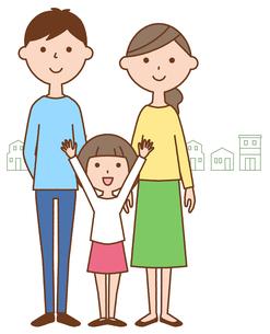 仲良しファミリー 二世代家族と街並みのイラスト素材 [FYI04738314]