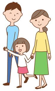 散歩する仲良しファミリー 二世代家族のイラスト素材 [FYI04738315]