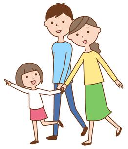 散歩する仲良しファミリー 二世代家族のイラスト素材 [FYI04738316]