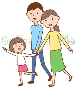 散歩する仲良しファミリー 二世代家族と街並みのイラスト素材 [FYI04738317]