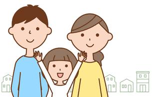 仲良しファミリー 二世代家族と街並みのイラスト素材 [FYI04738321]