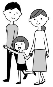 散歩する仲良しファミリー 二世代家族のイラスト素材 [FYI04738322]