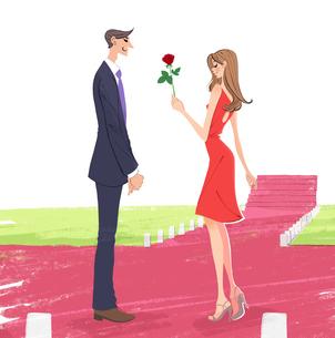 恋人にバラを一輪渡す女性のイラストのイラスト素材 [FYI04738325]