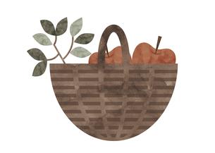 籐かごとリンゴ 水彩イラストのイラスト素材 [FYI04738503]