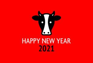 年賀状2021 うしのイラスト素材 [FYI04738661]