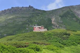 白雲岳と白雲岳避難小屋(北海道・大雪山)の写真素材 [FYI04738741]