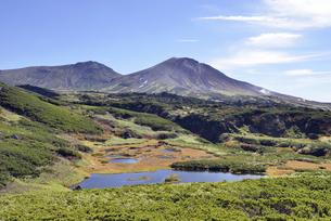 秋の沼と旭岳(北海道・大雪山)の写真素材 [FYI04738763]