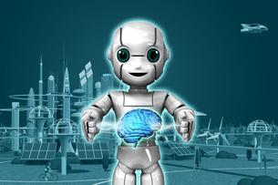 ロボットAi稲妻Gのイラスト素材 [FYI04738807]