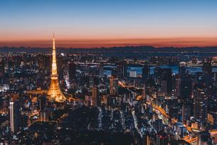 夜明けの東京タワーと東京都心の街並みの写真素材 [FYI04739186]