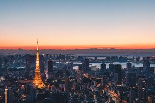 夜明けの東京タワーと東京都心の街並みの写真素材 [FYI04739193]