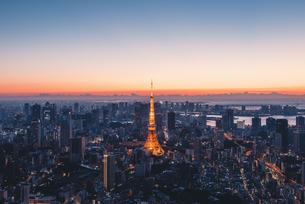 夜明けの東京タワーと東京都心の街並みの写真素材 [FYI04739195]