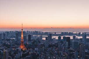 夜明けの東京タワーと東京都心の街並みの写真素材 [FYI04739202]