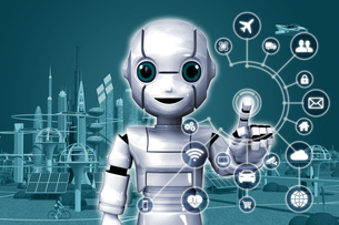 ロボットIoT2_Gのイラスト素材 [FYI04739211]
