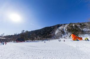 眩しい太陽と奥日光湯元温泉スキー場の写真素材 [FYI04739270]