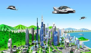 新未来の町とビークル青空のイラスト素材 [FYI04739406]