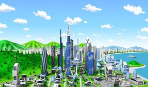 新未来の町雲のイラスト素材 [FYI04739407]