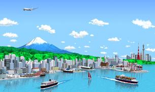 港町海側から雲_東京遠望_富士のイラスト素材 [FYI04739414]