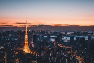 夜明けの東京タワーと東京都心の街並みの写真素材 [FYI04739489]