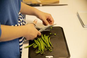 共同キッチンで調理する女性の写真素材 [FYI04739490]