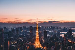 夜明けの東京タワーと東京都心の街並みの写真素材 [FYI04739496]