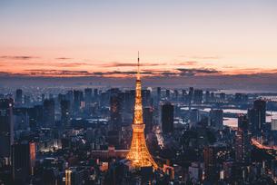 夜明けの東京タワーと東京都心の街並みの写真素材 [FYI04739497]