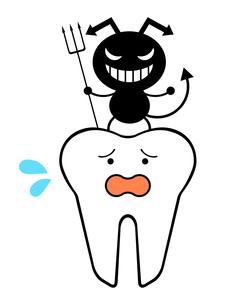 困り顔の歯と虫歯菌のイラスト素材 [FYI04739519]