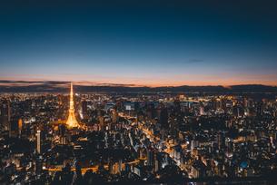 夜明けの東京タワーと東京都心の街並みの写真素材 [FYI04739520]