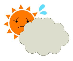困り顔の太陽と雲のイラスト素材 [FYI04739521]