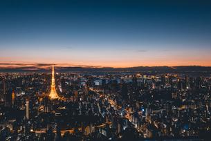 夜明けの東京タワーと東京都心の街並みの写真素材 [FYI04739528]