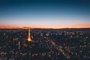 夜明けの東京タワーと東京都心の街並みの写真素材 [FYI04739532]