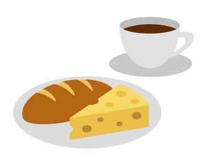 コーヒーとパンとチーズのイラスト素材 [FYI04739553]