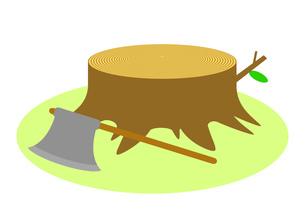 切り株とオノのイラスト素材 [FYI04739558]